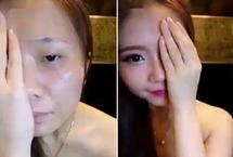 """女子半脸妆视频走红网络 化妆素颜判若两人 近日,韩国一位20多岁的女孩在""""脸谱""""上上传了自己的半脸化妆视频,在不到24小时的时间内引来超过210万次的点击量。网友们纷纷被她妆容和素颜的差异惊呆了。【详细】 社会热图"""