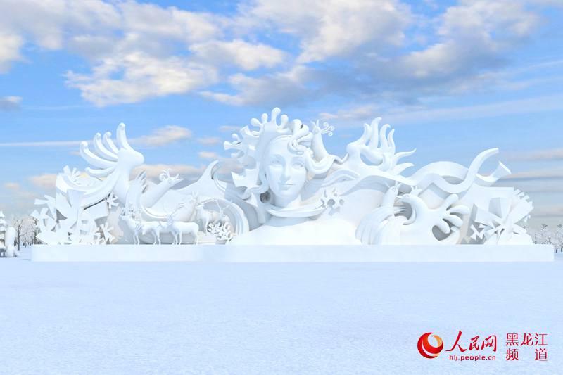 雪雕手绘设计图